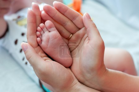Leg of the newborn in the hands of mother