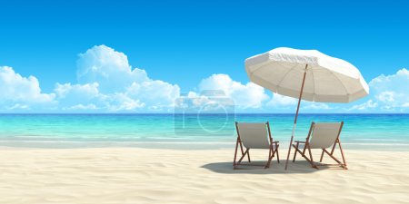 Chaise lounge and umbrella on sand beach.