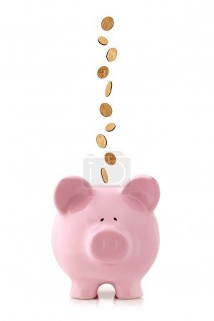 Piggy Bank with Falling Coins