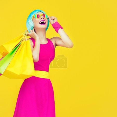 Shopping crazy girl