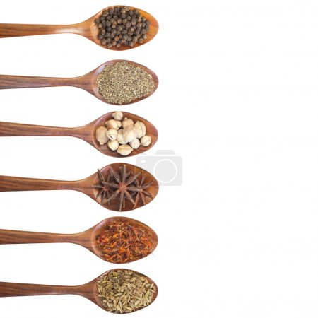 Collection of 6 spices on a wooden spoon