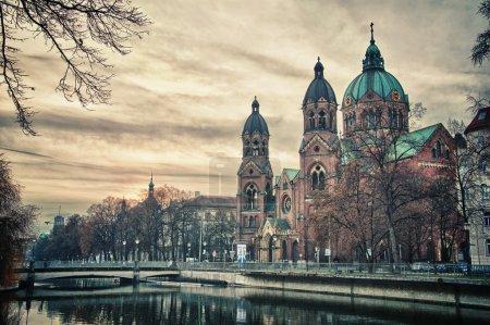 Beautiful temple at sunset. Europe landmark of Munich, Germany