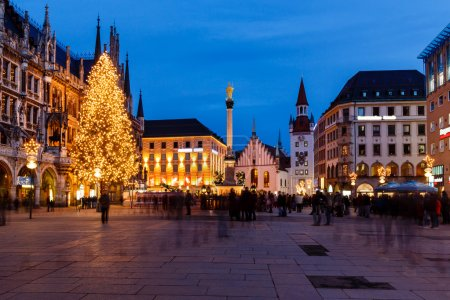 Marienplatz in the Evening, Munich, Bavaria, Germany