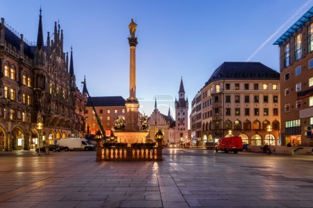 Old Town Hall and Marienplatz in the Morning, Munich, Bavaria, G