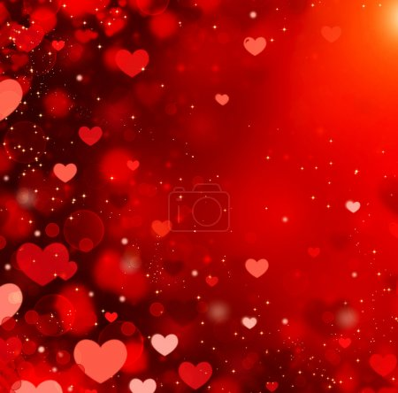 Valentine Hearts Abstract Red Background. St.Valentine's Day