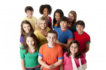 Diversity. Group of teenage girls and boys in colorful clothing standing together as a team
