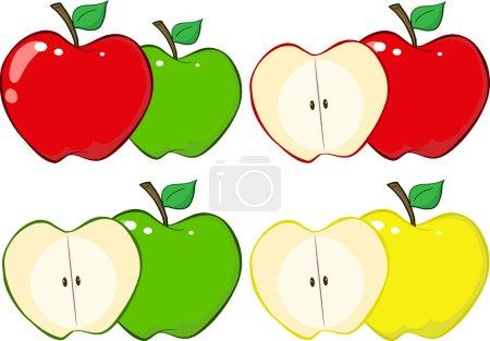 Cartoon Apples set