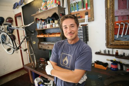 Business owner in bicycle shop