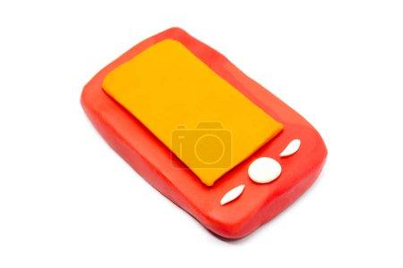 Play dough Smartphone on white background. Icon smartphone. Handmade clay plasticine