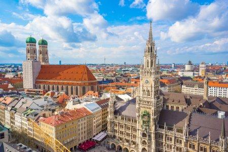 Aerial view of Marienplatz town hall and Frauenkirche in Munich,