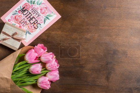 tulips bouquet, postcard and gift