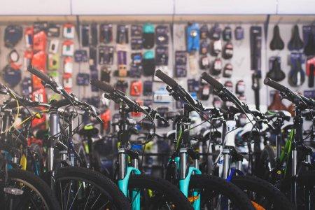 various modern bikes selling in bicycle shop