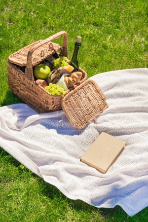 Picnic basket with fruits and book