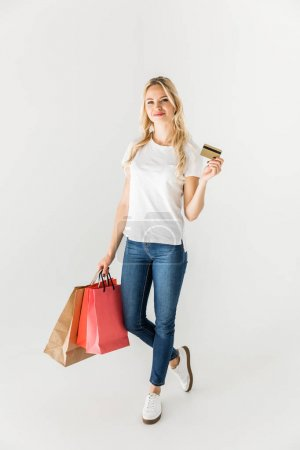 girl with shopping bags and credit card
