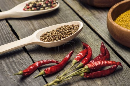 Chili peppers and spoons with spices