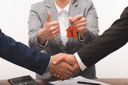 cropped image of costumer and estate agent shaking hands, realty buying concept isolated on white