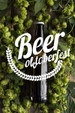top view of fresh beer in bottle with green hop on wooden surface with beer Oktoberfest illustration
