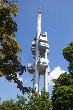 Prague TV tower with a restaurant in June afternoon