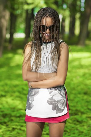 Happy Smiling Young African American Teenager Girl With Plenty of Long Dreadlocks
