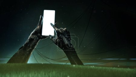 a broken bronze statue of hands holding a luminous cell phone with drooping wires and small fragments streaming from the grass. concept of fast-growing technology 3d render
