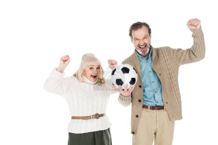 happy senior man holding football and smiling with cheerful wife isolated on white