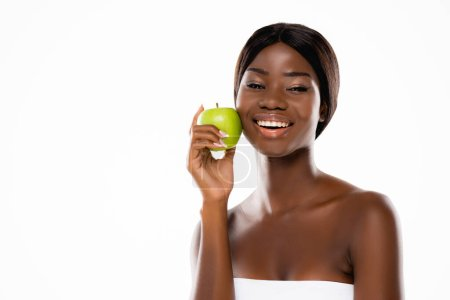african american woman holding green ripe apple isolated on white
