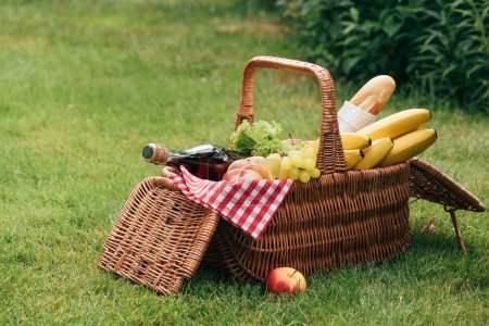 tasty fruits and bottle of champagne in wicker basket on green grass at picnic