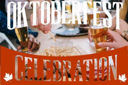 cropped view of friends drinking beer and eating snacks in pub with Oktoberfest celebration illustration