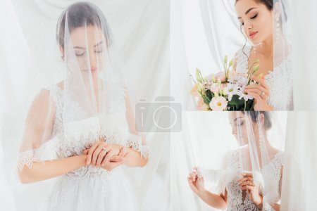 Collage of bride in wedding dress touching veil and bouquet near white curtains