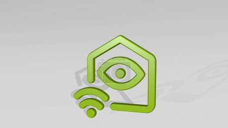 SMART HOUSE EYE from a perspective with the shadow. A thick sculpture made of metallic materials of 3D rendering. phone and illustration