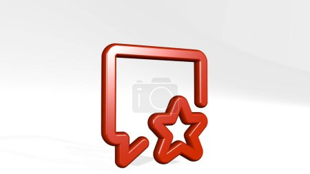messages bubble square star 3D icon casting shadow, 3D illustration for background and concept