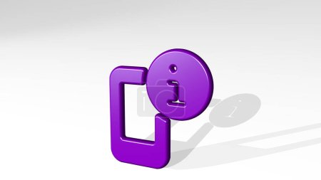 phone action information 3D icon casting shadow, 3D illustration for mobile and business