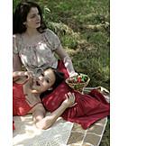 Woman, Cherry, Picnic