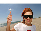 Young woman, Beach, Sunglasses