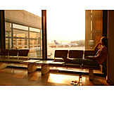 Young woman, Pensive, Airport, Aspiration