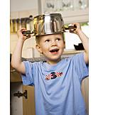 Boy, Playing, Saucepan