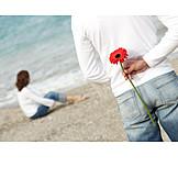 Woman, Man, Love, Surprise, Beach, Flower
