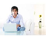 Young man, Man, Mobile communication, Laptop
