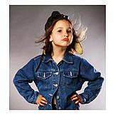Girl, Aviator hat, Pout, Jean jacket, Sulking