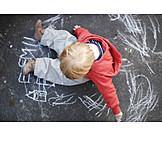 Toddler, Boy, Painting, Chalk