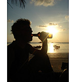 Man, Drinking, Silhouette