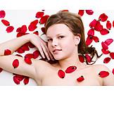 Young woman, Woman, Wellness & relax, Petals, Sensual