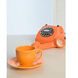 Telephone, Retro, Orange, Coffee cup