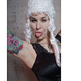 Naughty, Sticking out tongue, Tattoo, Wig