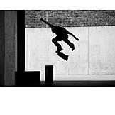 Silhouette, Jump, Skateboard, Skating