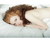 Young woman, Resting, Lying, Red hair