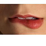 Beauty & cosmetics, Seductive, Mouth, Lip biting