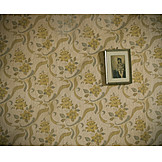 Memory, Floral wallpaper, Picture frame