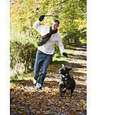 Young man, Man, Active, Walk the dog, Dog lovers