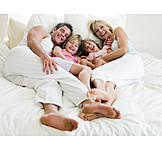 Bed, Family, Cuddle